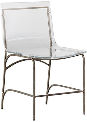 Penelope Side Chair - Clear/Antiqued Silver - Gabby