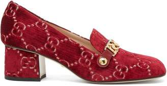 57bbbe91293 Gucci Sylvie Logo Embroidered Velvet Loafers - Womens - Red