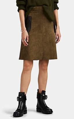 Barneys New York Women's Suede Pencil Skirt - Green