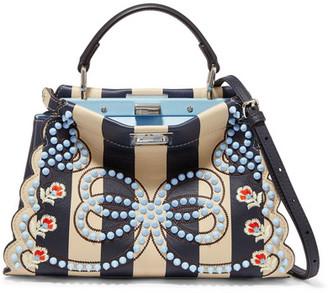 Fendi - Peekaboo Mini Embellished Striped Leather Shoulder Bag - Navy $4,900 thestylecure.com