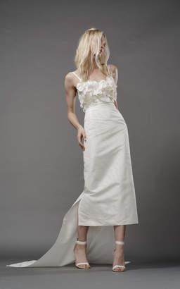 Elizabeth Fillmore Poppy Silk Column Gown With Floral Bodice