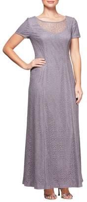 Alex Evenings Illusion Neck Lace Gown (Regular & Petite)