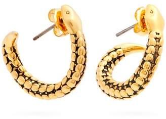 Aurelie Bidermann Snake Gold Plated Hoop Earrings - Womens - Gold