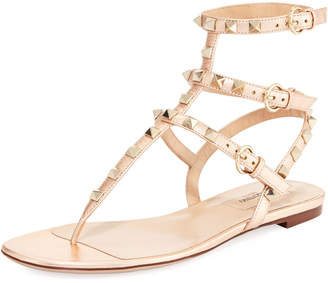 Valentino Rockstud Flat Leather Thong Sandal
