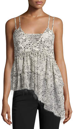 Cinq à Sept Yelena Floral Tiered Raw-Edge Camisole Top, Black/White