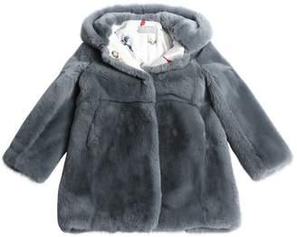 Hooded Rex Rabbit Fur Coat