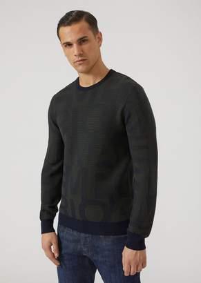 Emporio Armani Ribbed Crew-Neck Sweater With Logo Jacquard Motif