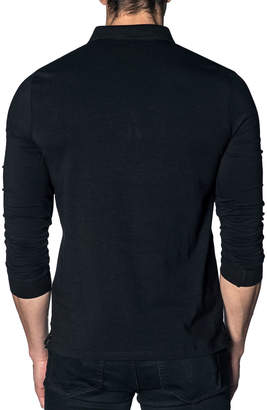 Jared Lang Long Sleeve Knit Polo Shirt