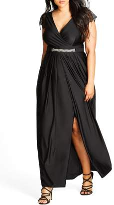 City Chic Flirty Drape Maxi Dress