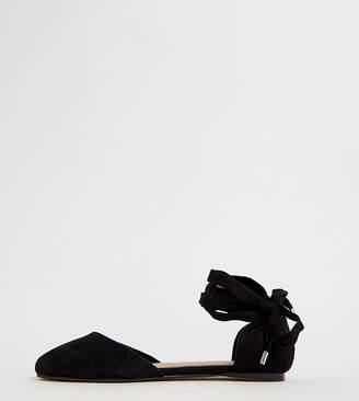 af3bf682c03 Asos Design DESIGN Wide Fit Voyage square toe ballet flats in black