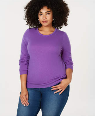 Charter Club Plus Size Pure Cashmere Crewneck Sweater, Created for Macy's
