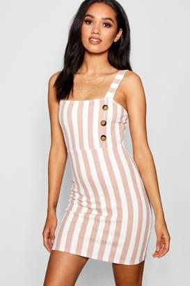 boohoo Petite Stripe Mock Horn Button Shift Dress