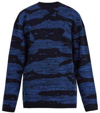 Raey Oversized Space Dyed Wool Sweater - Mens - Blue Multi