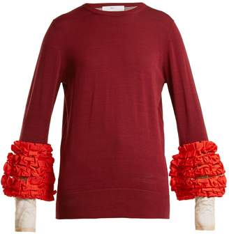 Toga Contrast-cuff ruffled sweater
