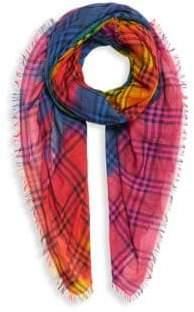 Burberry Tie-Dye Rainbow Wool& Silk Vintage Scarf
