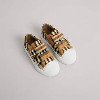 Burberry Vintage Check and Leather Sneakers , Size: 33