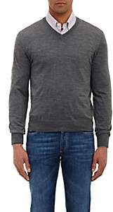 Brunello Cucinelli Men's Tipped V-neck Sweater - Gray