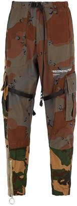 Off-White Reconstructed camouflage cotton cargo trousers