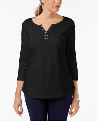 Karen Scott Cotton Stud-Embellished Top, Created for Macy's