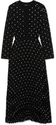Maje Embroidered Chiffon Midi Dress - Black