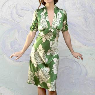 d706243fe0 M·A·C Nancy Mac Midi 1940 s Style Dress In Hydrangea Print Silk Satin
