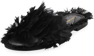 Neiman Marcus Avec Moderation Bora Bora Feather Slipper Sandal