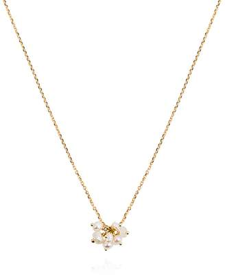 Sweet Pea White Pearl and Moonstone Cluster Necklace - Yellow Gold
