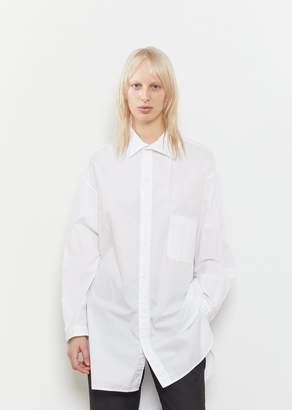 Yohji Yamamoto Cotton Open Collar Shirt White
