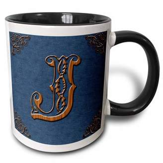 3dRose Monogram letter J in Victorian Western font that looks like carved oak wood on a denim background. - Two Tone Black Mug, 11-ounce