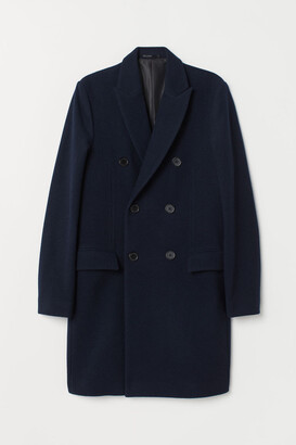 H&M Double-breasted Coat - Blue