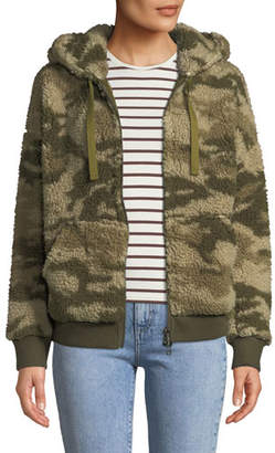 ATM Anthony Thomas Melillo Camo-Print Sherpa Zip-Front Hoodie
