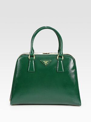 Saffiano Vernice Framed Top Handle Bag