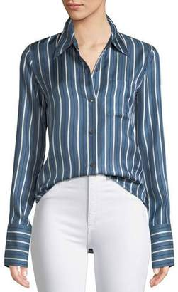 Theory Darby Striped Silk Button-Front Top