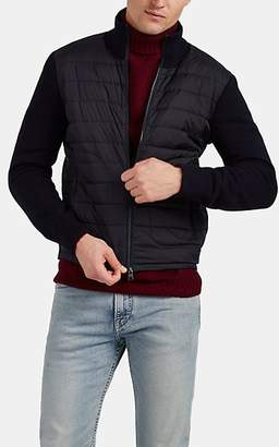 Moncler Men's Down-Quilted Wool-Blend & Tech-Fabric Jacket - Navy