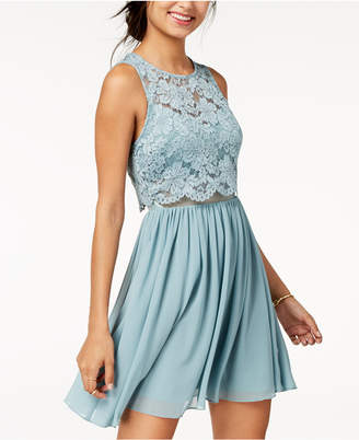 City Studios Juniors' Lace Popover Fit & Flare Dress