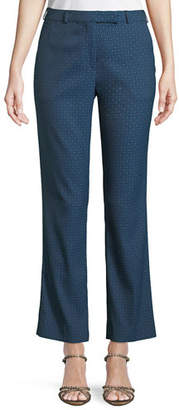 Etro Tab-Front Straight-Leg Cropped Jacquard Pants