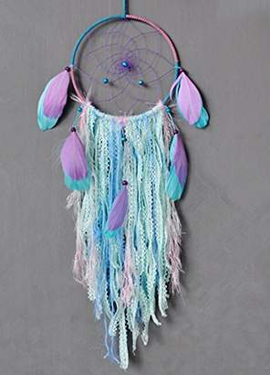 Bohemia Dream catcher handmade traditional white feather wind chime wall hanging home decoration (Purple Dream Catcher)