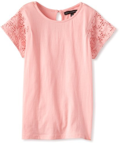 French Connection Girl's 7-16 Eva Tee Short Sleeve Top, Parasol Pink, 14