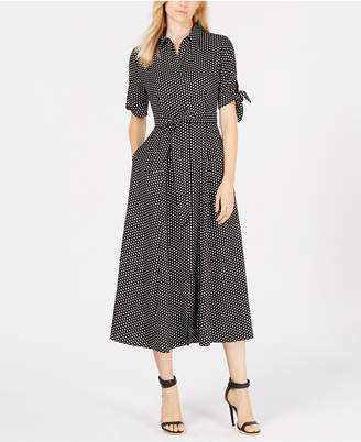Calvin Klein Polka Dot Belted Maxi Shirtdress, Regular & Petite