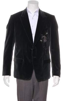 Dolce & Gabbana Rose-Embroidered Velvet Blazer