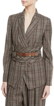 Brunello Cucinelli Peak-Lapel Plaid Virgin Wool Blazer with Leather Wrap Belt