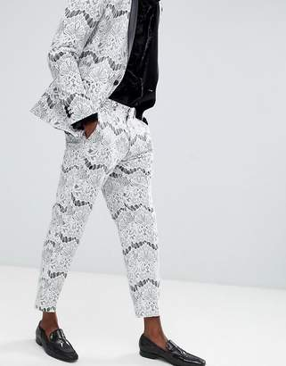 Asos Edition EDITION skinny crop tuxedo suit pants in white lace