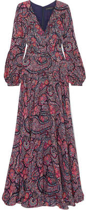 Etro Printed Silk Crepe De Chine Gown - Purple