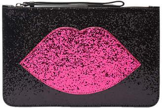 Lulu Guinness Glitter Lip Grace Clutch Bag, Black/Hot Pink