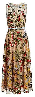 ML Monique Lhuillier Women's Floral-Embroidered Tulle A-Line Midi Dress