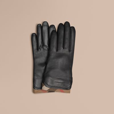 Burberry  Burberry Check Trim Leather Gloves