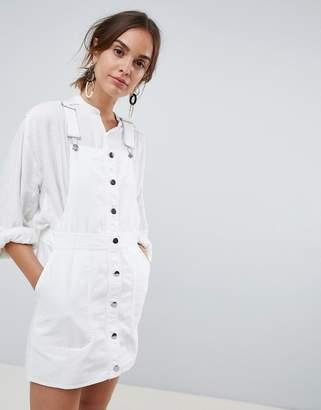 MANGO button through overall dress in white