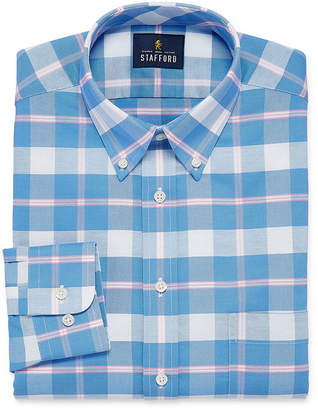 STAFFORD Stafford Travel Wrinkle Free Oxford Long Sleeve Plaid Dress Shirt