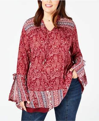 Style&Co. Style & Co Plus Size Mystic Paisley Bell-Sleeve Top