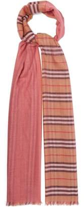 Burberry Checked Wool And Silk Blend Scarf - Womens - Pink